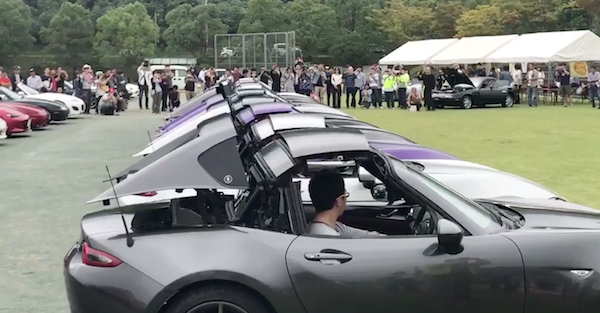 Nine Mazda Miatas perform the equivalent of an Olympic feat, and it's perfect