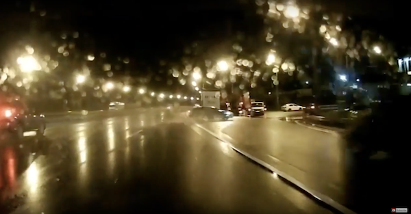 This shows why it's a dumb idea to drive fast on a wet road