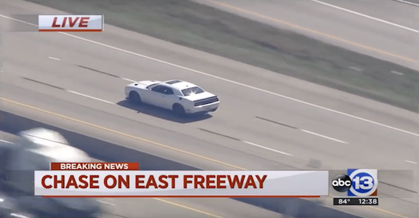 Police chase with Dodge Challenger Hellcat ends in the strangest way