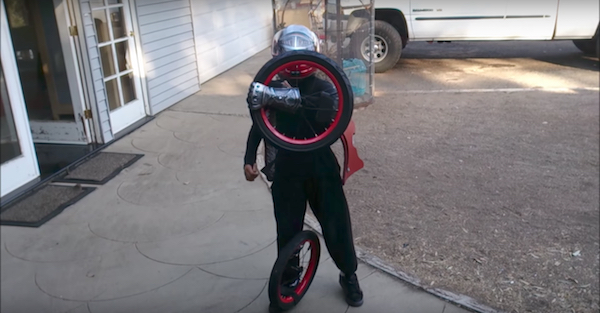 This kid transforms to be the hands down winner of best Halloween costume
