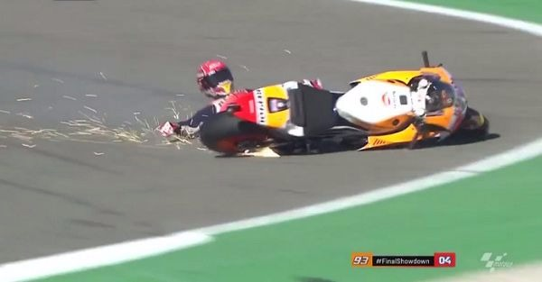 A qualifying crash sent a driver sliding across the track so hard his suit caused sparks