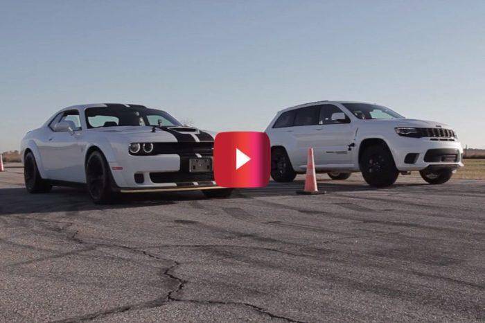 Challenger Hellcat Widebody vs. Grand Cherokee Trackhawk in Drag Race