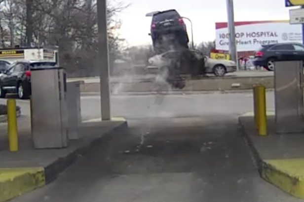 Driver Launches Over Car While Trying to Leave Bank in a Hurry