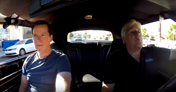 Jay Leno and Jeff Dunham driving an American icon is a delight