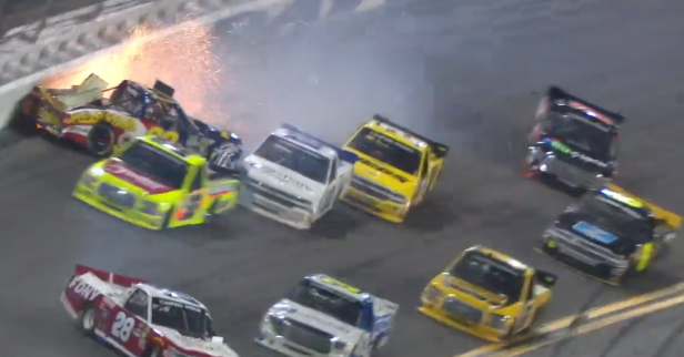 Wreck at Daytona nearly rips the tail off a truck