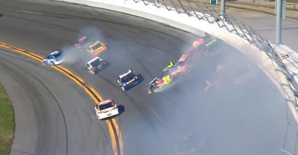 A big crash ends the day for a big name at Daytona