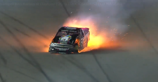 Nasty wreck hurts one driver after truck bursts into flames at Daytona