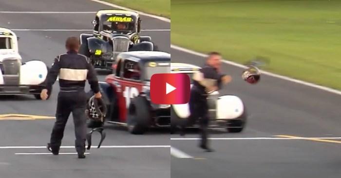 Racer Throws Helmet at Car in Post-Wreck Meltdown