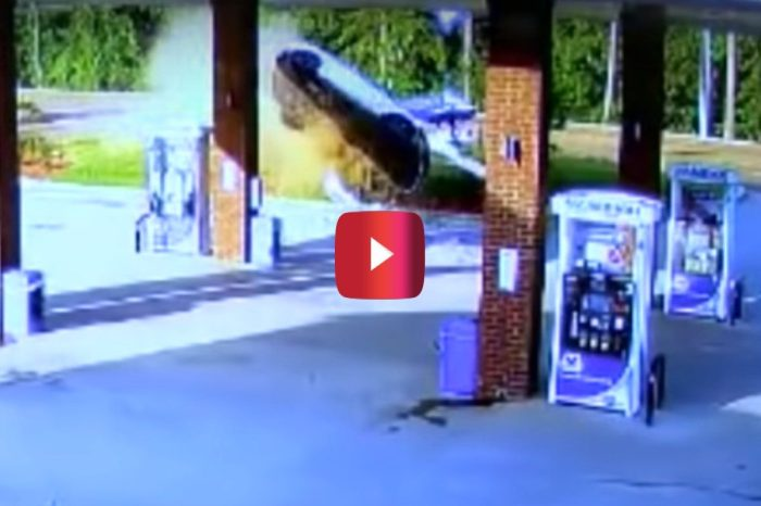 Surveillance Footage Captures Shocking Moment When Car Gets Airborne and Slams Into Gas Station