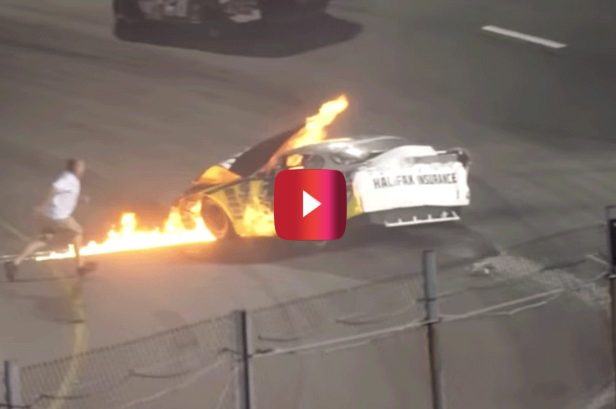Dad Jumps Into Action and Saves His Son After Fiery Racing Wreck