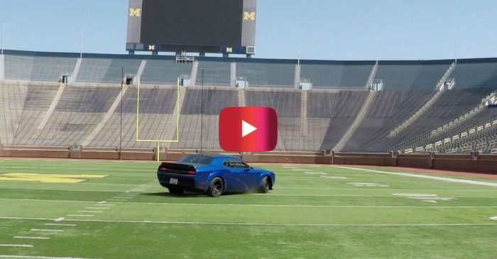 Michigan Football Coach Hits the Field in a Dodge Demon