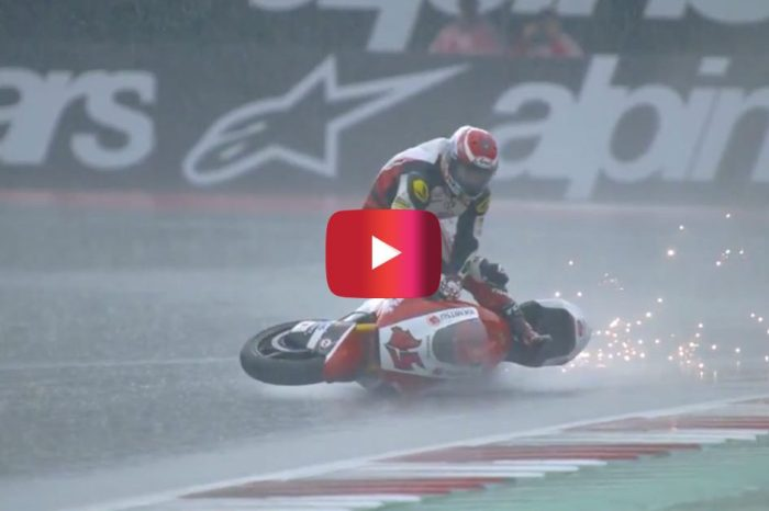 Motorcycle Racer Surfs on His Bike After High-Speed Crash