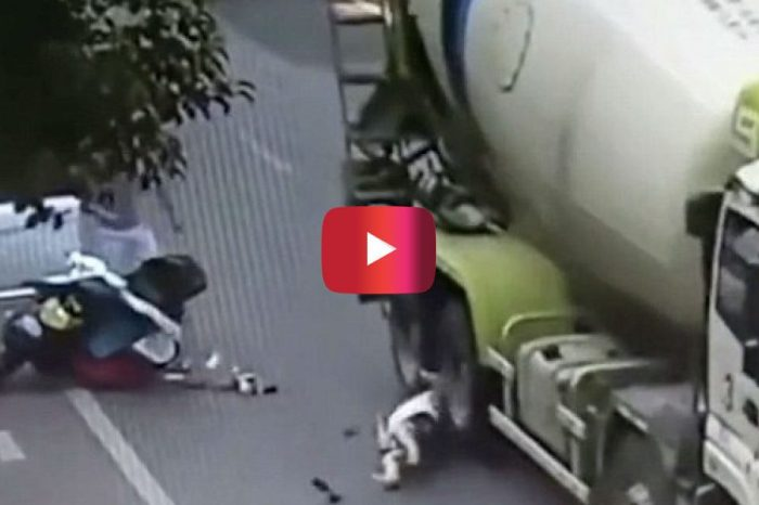 Terrifying Footage Shows Woman's Head Get Run over by a Concrete Mixer Truck