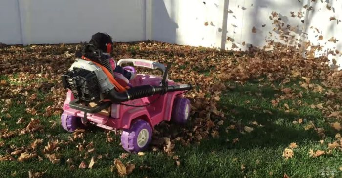 Dad Turns Barbie Jeep into Yard Work ATV for His Son, and It Really Gets the Job Done