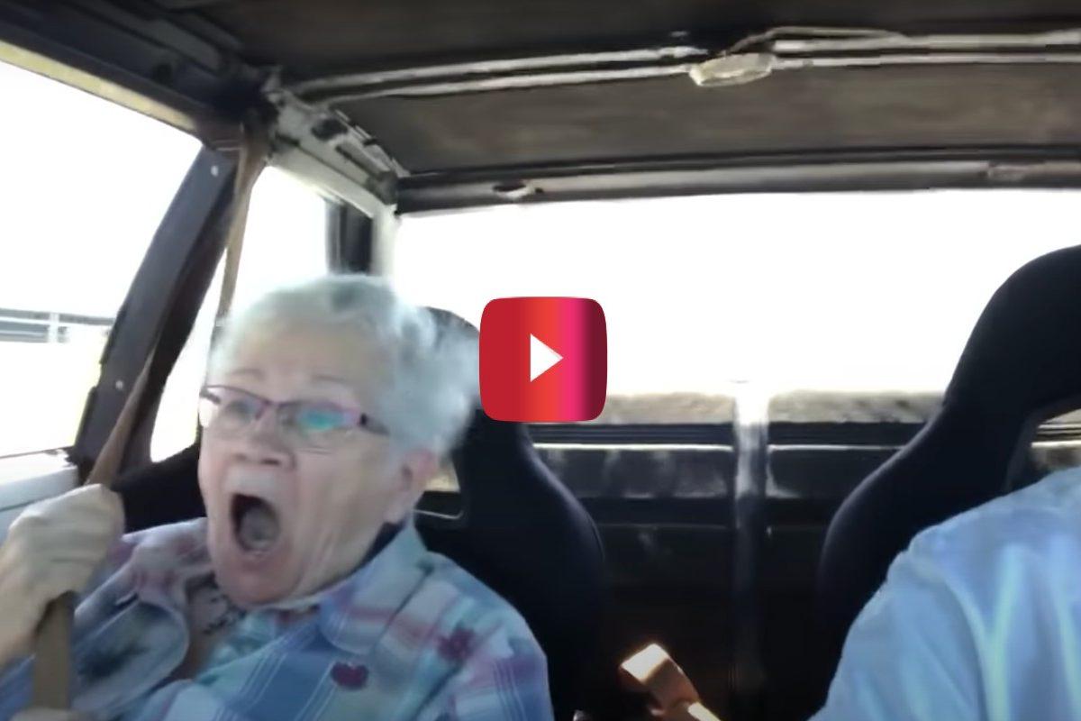 grandma going fast in car