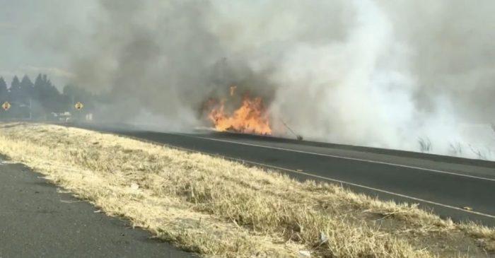 Classic Car Crash Causes Brush Fire in California