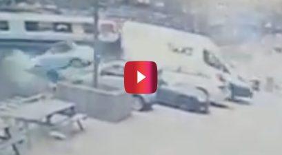 delivery van knocks porsche into water