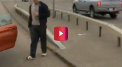 guy drinks beer after rear-ending car