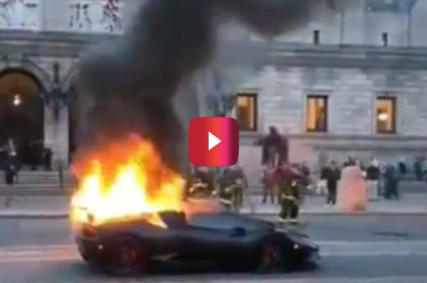 Lamborghini Huracan Catches Fire, and Everyone Gathers Around to Watch the Craziness