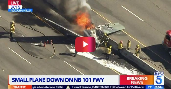 WWII Vintage Plane with German Markings Crashes on California Freeway