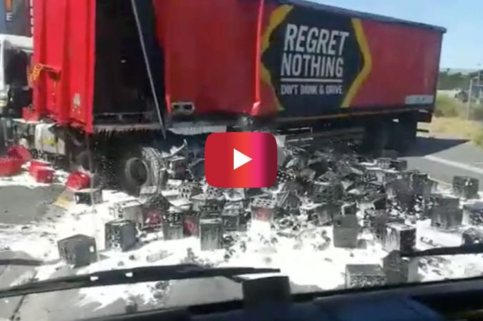 Beer Spills Everywhere in Cringeworthy Truck Fail