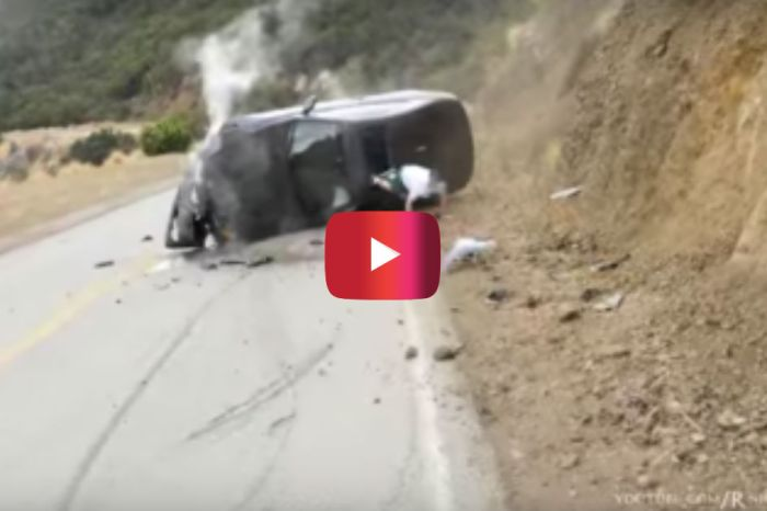 BMW Crashes Into Hillside During High-Speed Turn