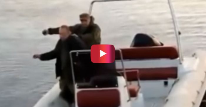 Idiots Fishing with Hand Grenade Blow up Boat