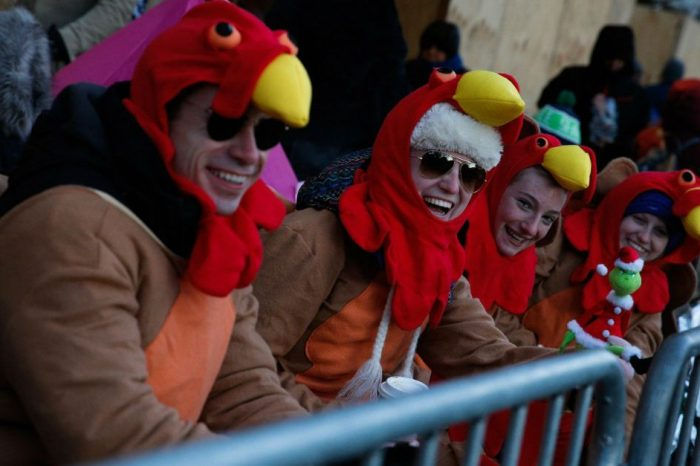 Bystanders Brave Below Freezing Temperature for Macy's Thanksgiving Day Parade