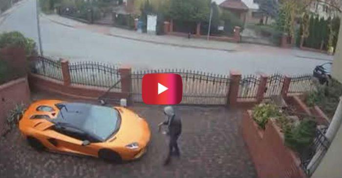 Surveillance Footage Shows Man Keying a Lamborghini Aventador in Poland