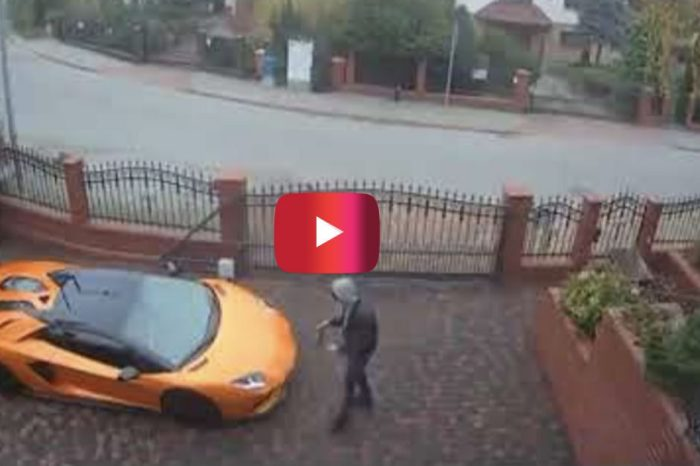 Surveillance Footage Shows Man Keying a Lamborghini Aventador in Poland