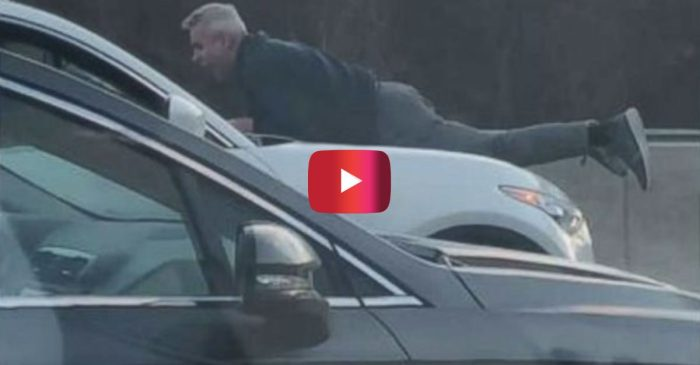 Crazy Road Rage Incident Ends in Man Clinging to Car Hood at 70 MPH