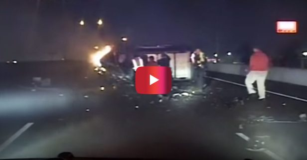 Shocking Video Shows Burning Vehicle Rescue in Texas