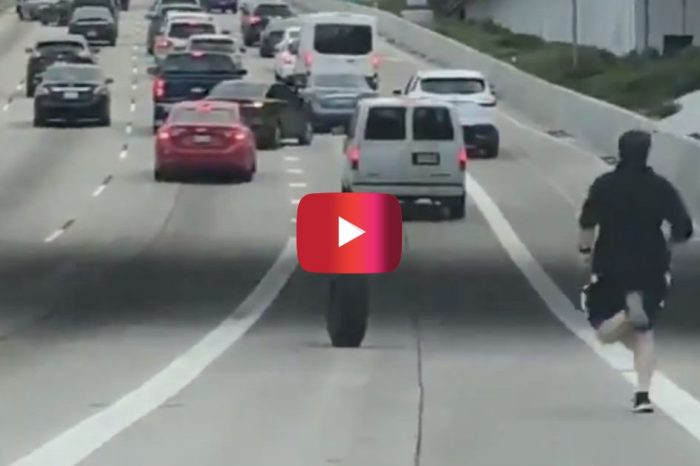 Texas Man Risks It All to Chase His Runaway Tire