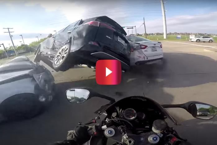 Helmet Cam Captures Extreme Crash That Biker Was Lucky to Walk Away From