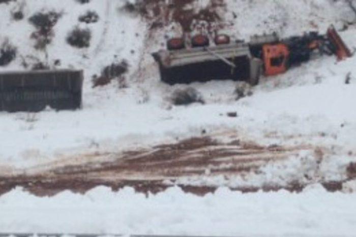 Snow Plow Plummets 300 Feet After Getting Run Off Road by Trucker