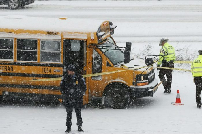 Shocking Video Shows Man Shooting a School Bus Driver on Snowy Highway