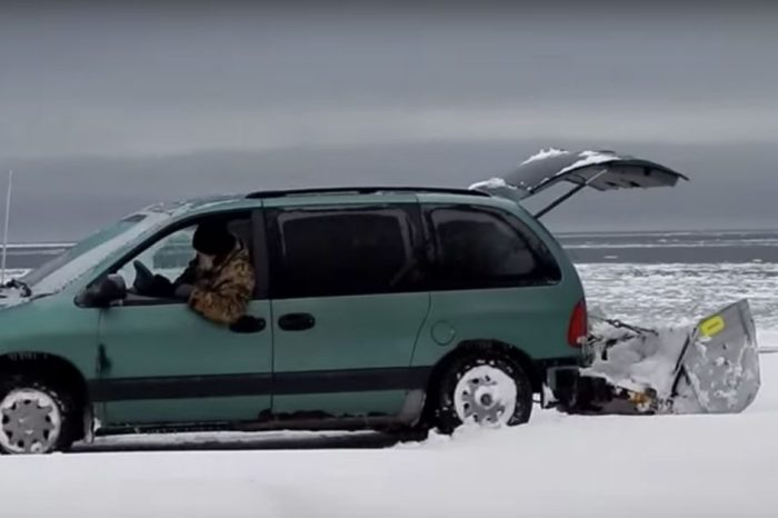 This Homemade Snow Plow Is the Ultimate Mini Van Attachment