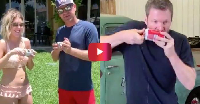 Clint Bowyer Crushes Dale Jr. in Shotgunning Beer