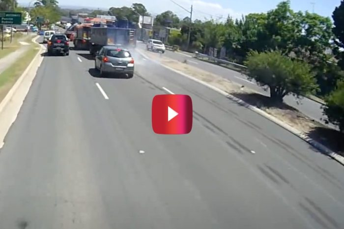 Trucker Locks Up Trailer Brakes, Slides Through Traffic