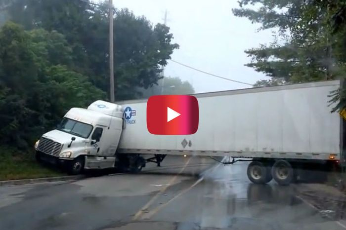 Truck Driver vs. Low Bridge Ends in Cringeworthy U-Turn Attempt
