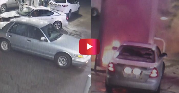 This Absolutely WILD Scene at Detroit Gas Station Ends in Gas Pump Fire