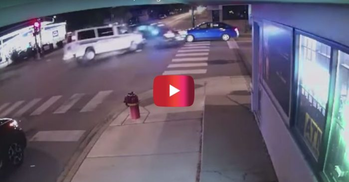 Surveillance Video Shows Police Vehicles Smash into Car, Killing Woman