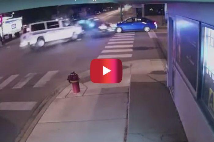 Surveillance Video Shows Police Vehicles Smash into Car, Killing Woman