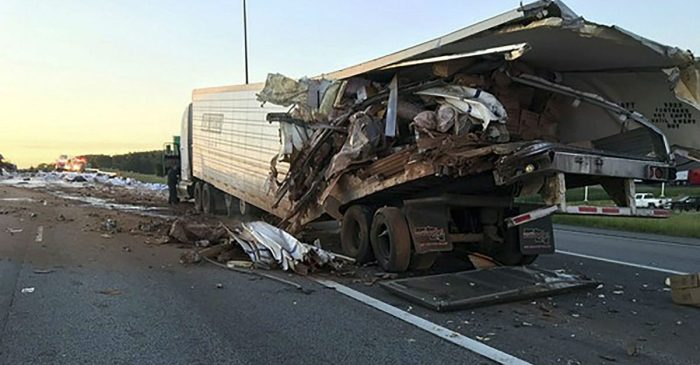 Semi Crash Scatters Lithium Batteries, Cocoa Powder on Indiana Highway