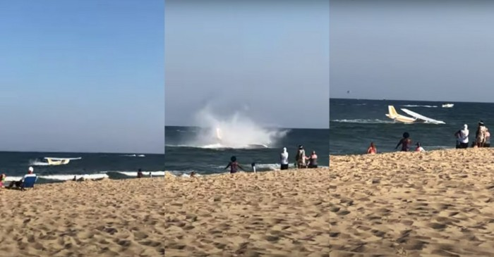 Emergency Plane Landing on Maryland Beach Caught on Video