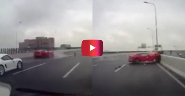 Ferrari F12 Loses Control, Smashes Into Barrier