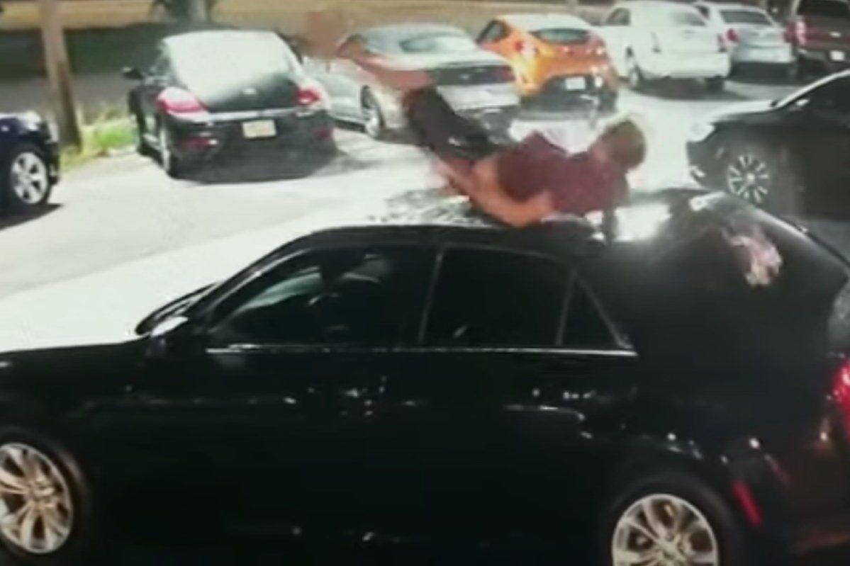 florida man falls on top of dealership car