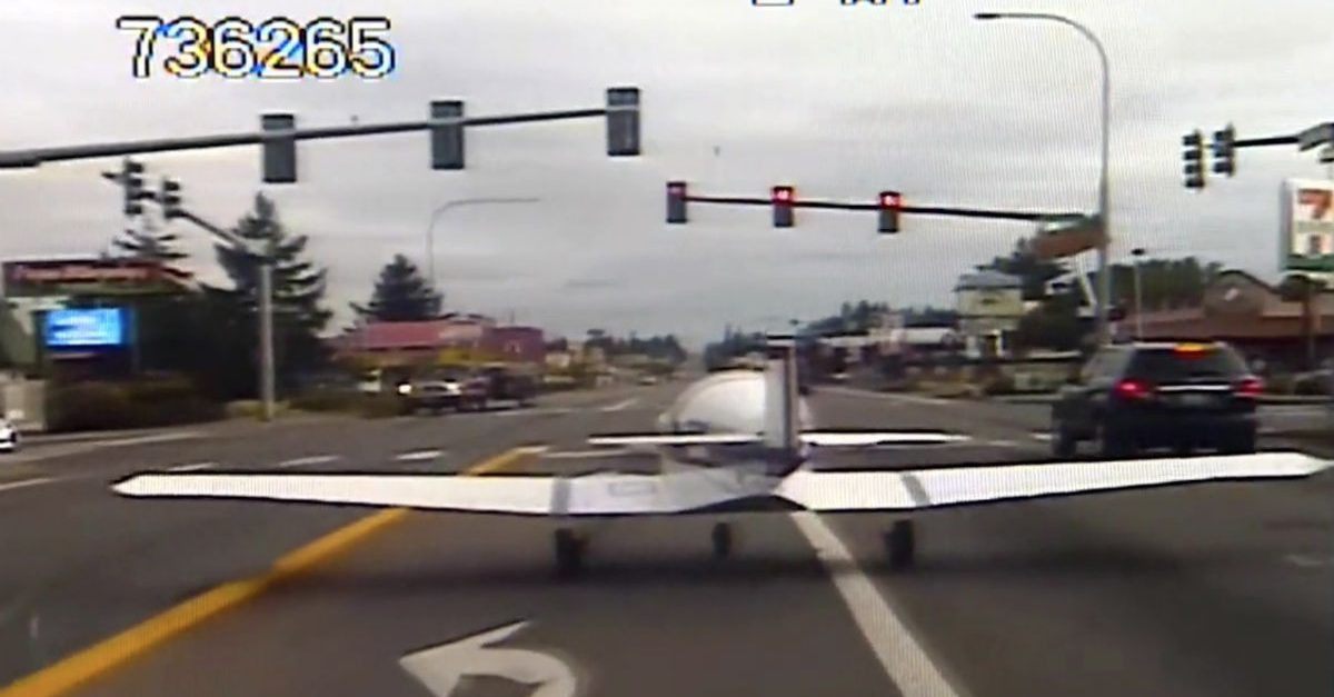 Crazy Dashcam Video Shows Small Plane Land on Washington Highway