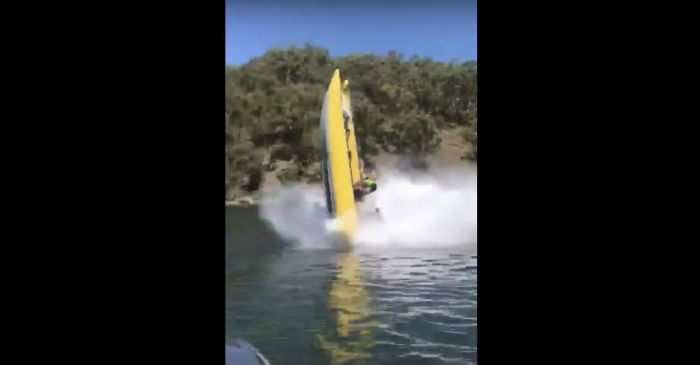 Don't Try This at Home! Wild Boat Backflip Attempt Ends with a Splash
