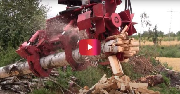 Firewood Processor Slices and Dices Massive Logs in Satisfying Video